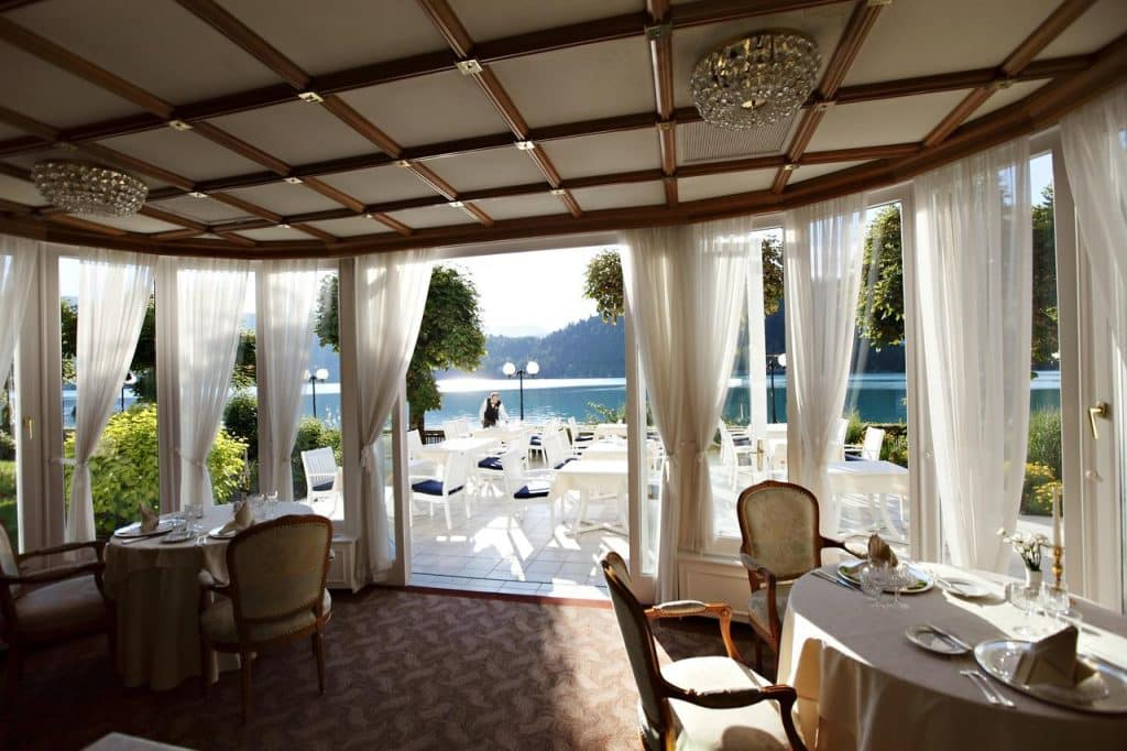 Lake Bled wedding accommodation at Hotel Toplice, restaurant and terrace by the lake