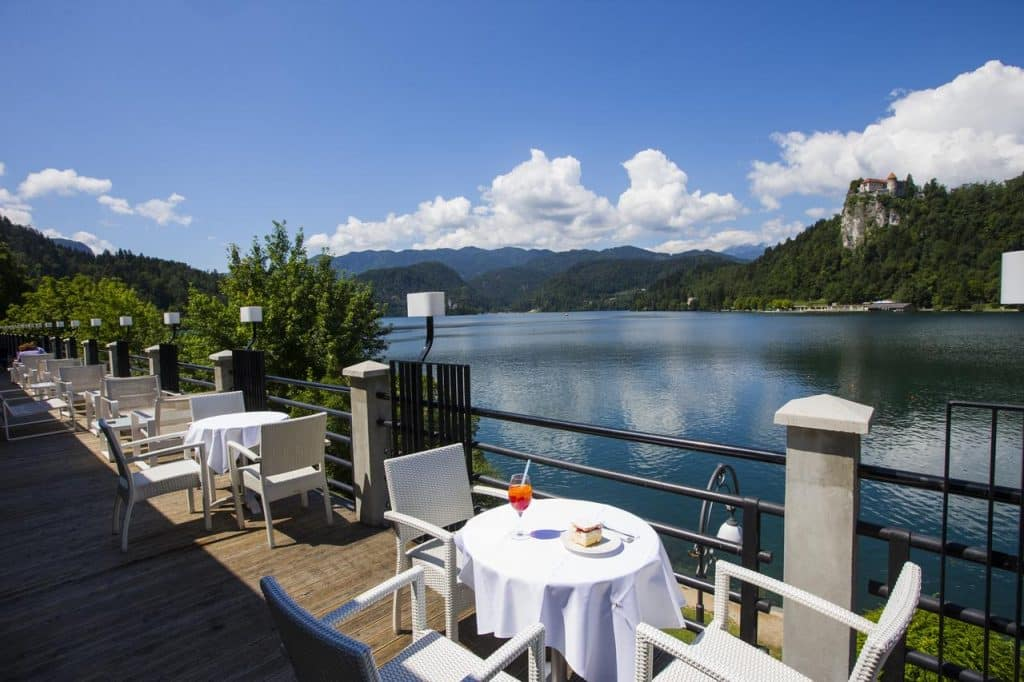 Park Hotel terrace from Lake Bled wedding accommodation