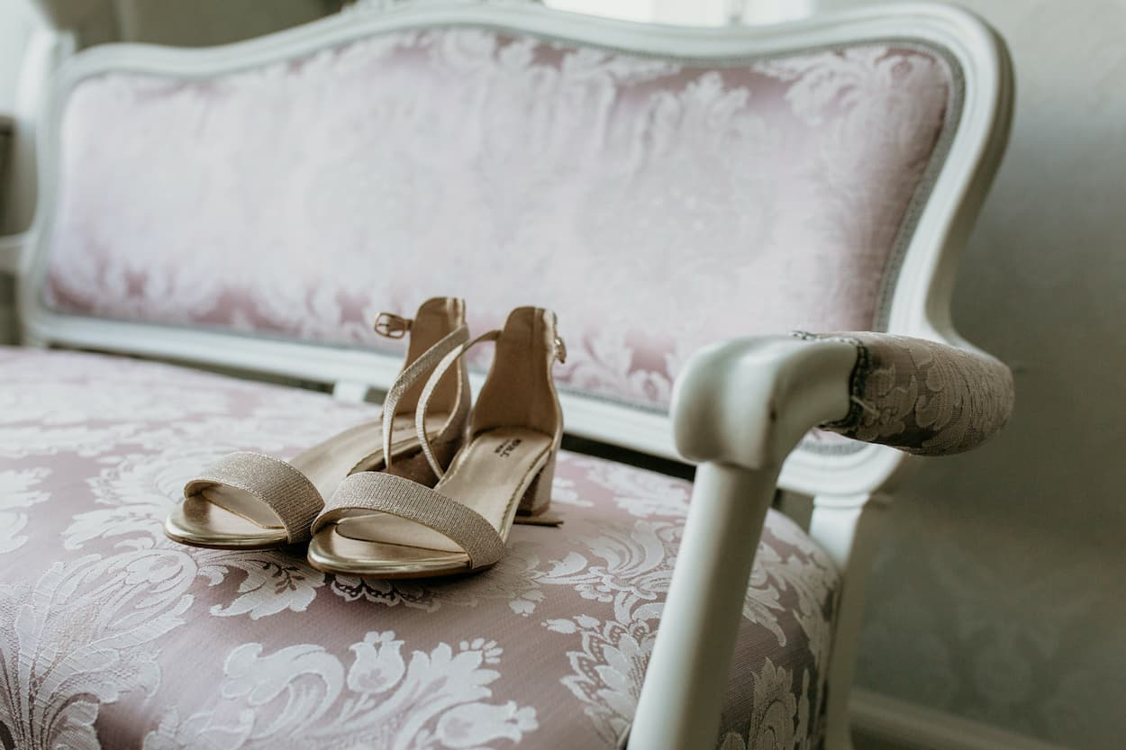 Bride's shoes on the chair for Lake Bled wedding portfolio