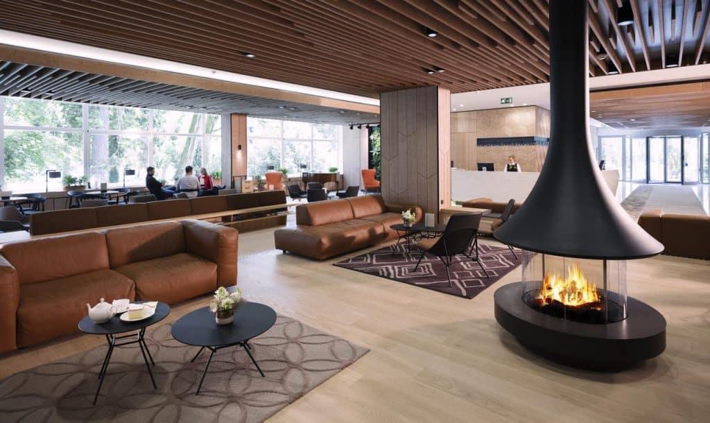 Lake Bled wedding accommodation Rikli Balance lobby with fireplace