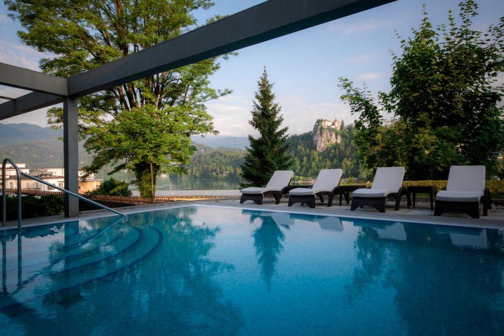 Lake Bled wedding accommodation Rikli Balance outdoor pool
