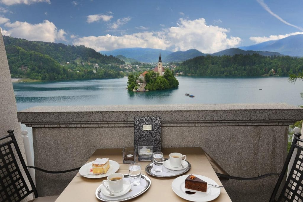 Lake Bled wedding accommodation Hotel Park terrace with cakes and coffee