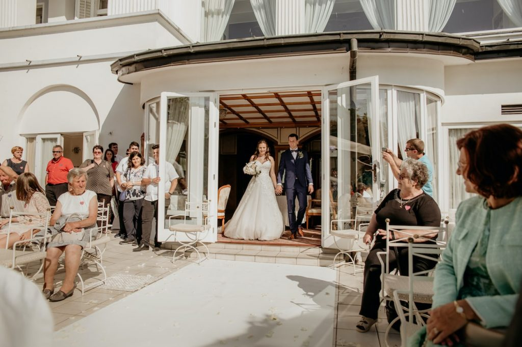 Bride and groom at their Grand hotel Toplice wedding