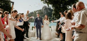 Bride and groom confetti shower at their Grand hotel Toplice wedding