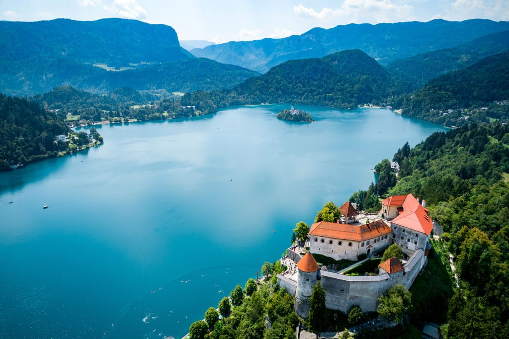 Lake Bled and Bled Castle from Air