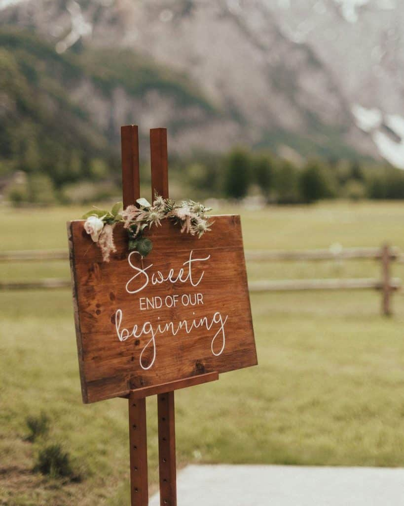 Wooden sign Sweet end of our beginning for Lake Bled Wedding