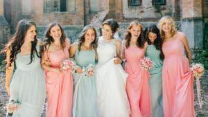 Bride with six bridesmaids at Lake Bled wedding