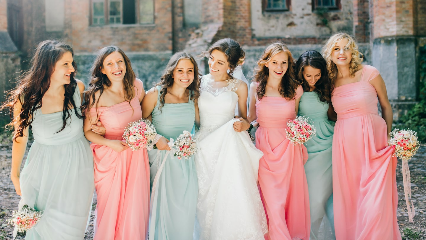 Bride with six bridesmaids at Lake Bled wedding