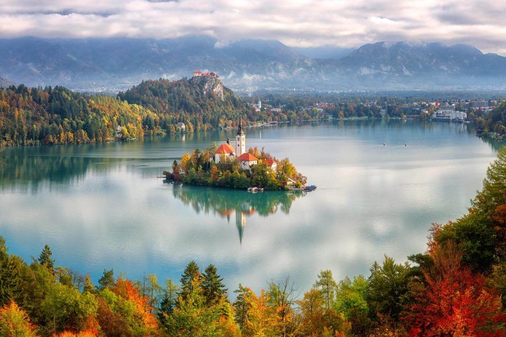 Lake Bled island with the Bled castle in the background