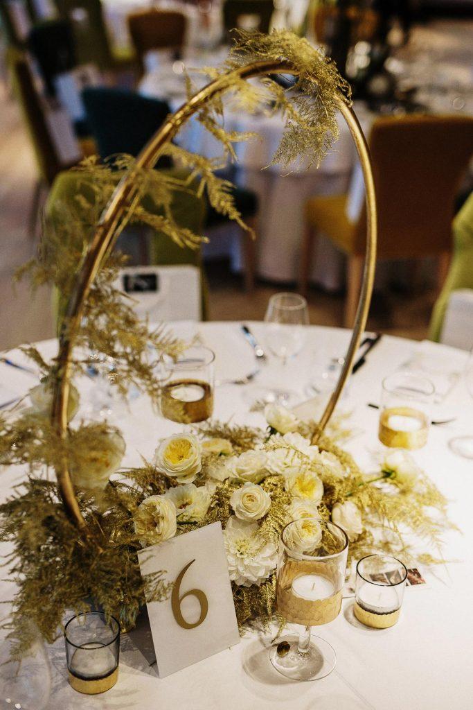 Table flower arrangement at the Lake Bled Wedding