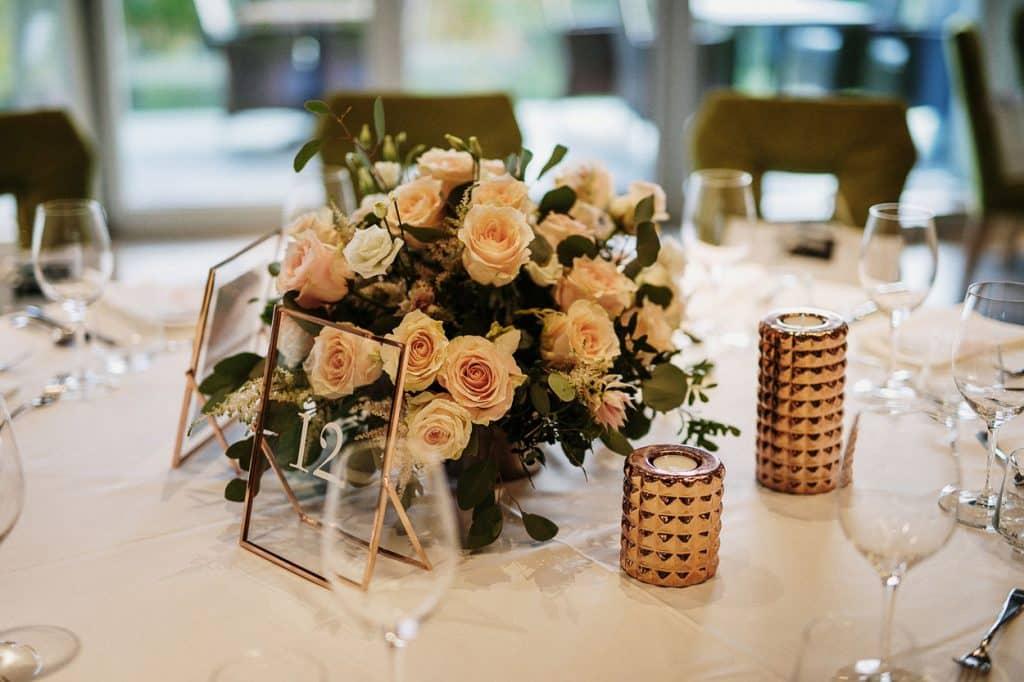 Table flower arrangement at Vila Bled Wedding