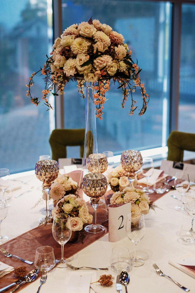 Table flower arrangement at the Wedding Lake Bled