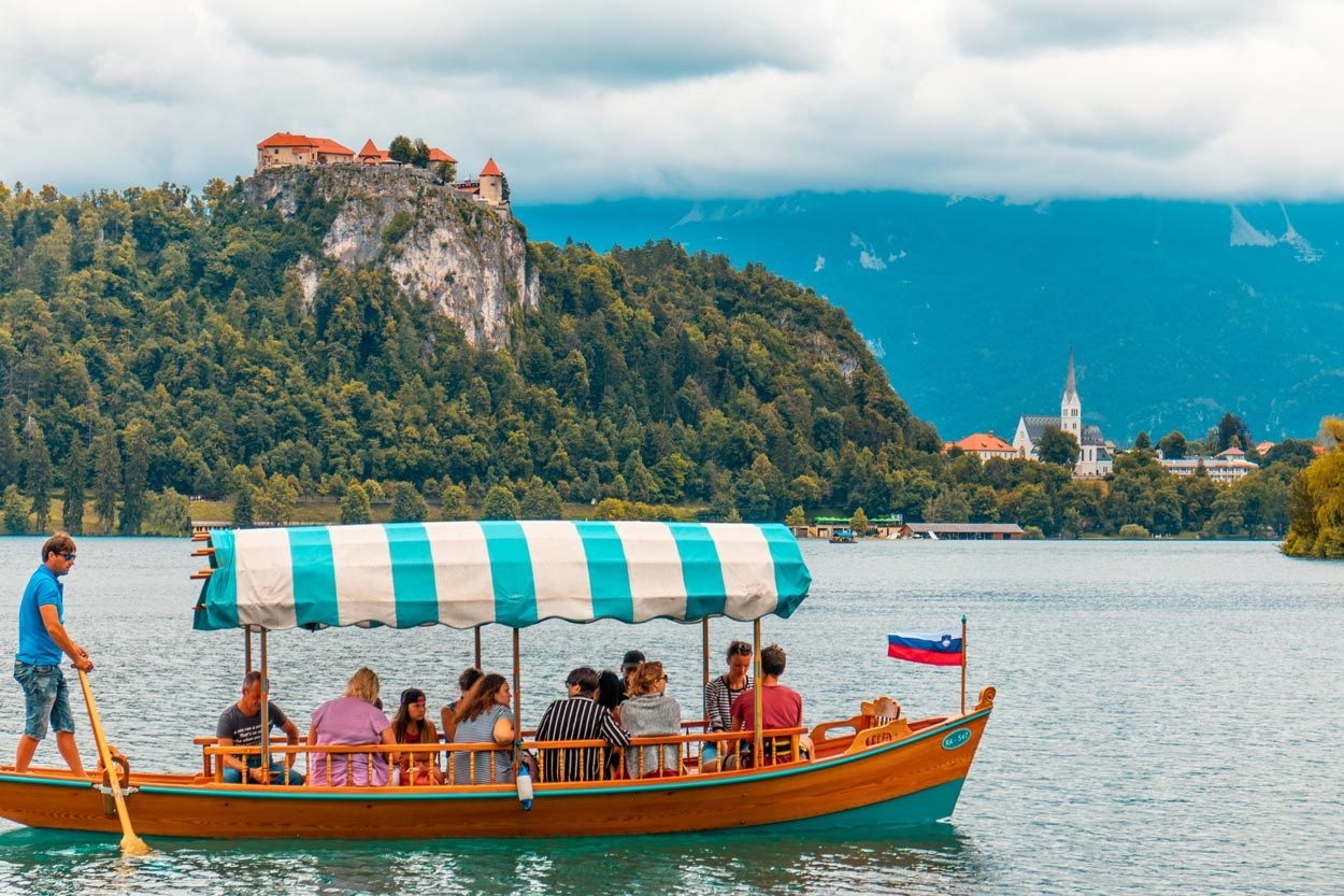 Pletna boat ride on Lake Bled