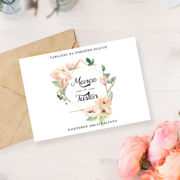 Wedding invitation and flowers from the Lake Bled wedding suppliers