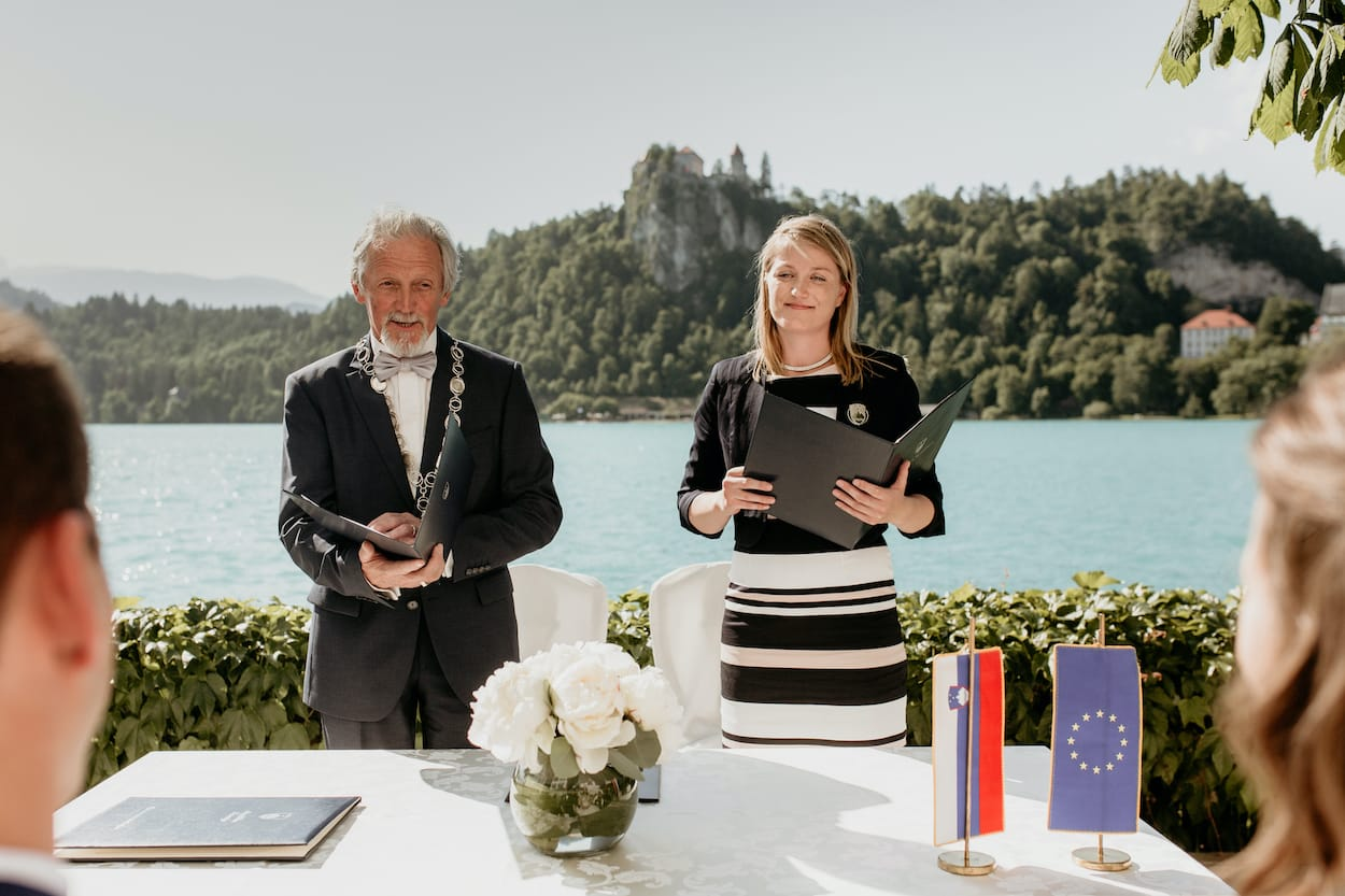 Civil ceremony at Lake Bled wedding portfolio