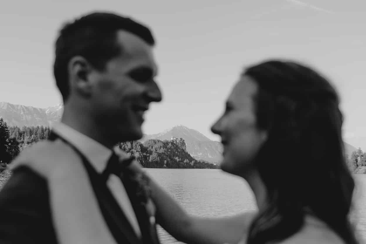 Lake Bled wedding portfolio photo of bride and groom happy look