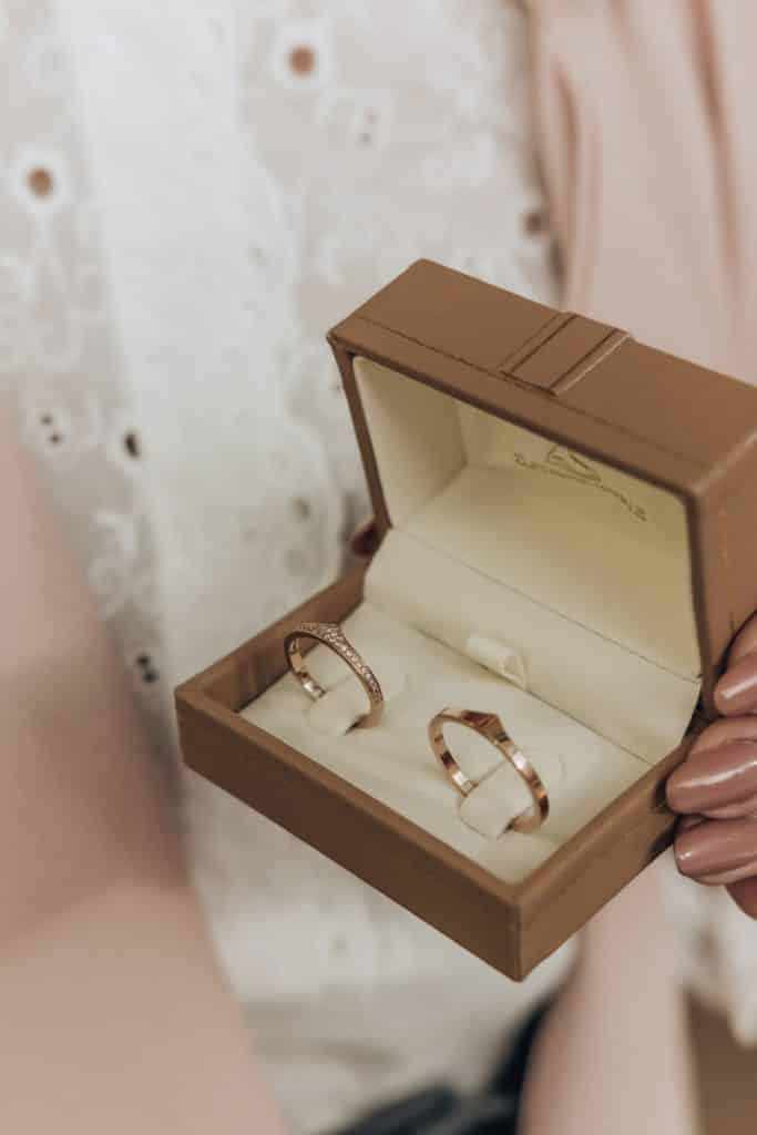 Two wedding rings from Lake Bled wedding supplier