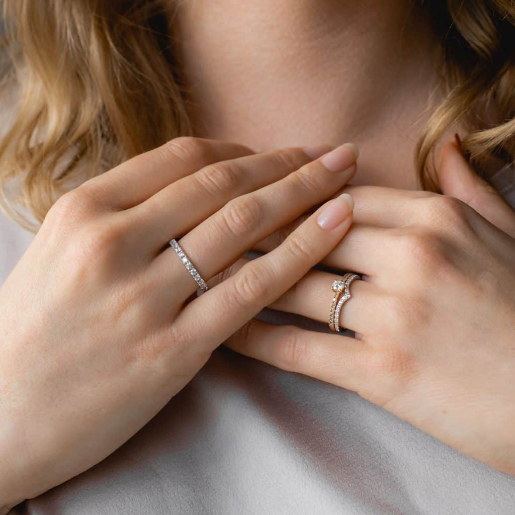 Lake Bled wedding supplier engagement ring on woman's hands