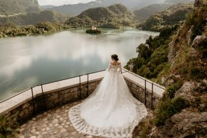 Bride posing on the Bled Castle terrace