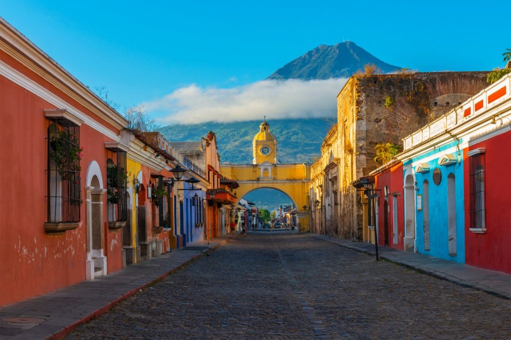 Colourful streets of Antigua in Guatemala