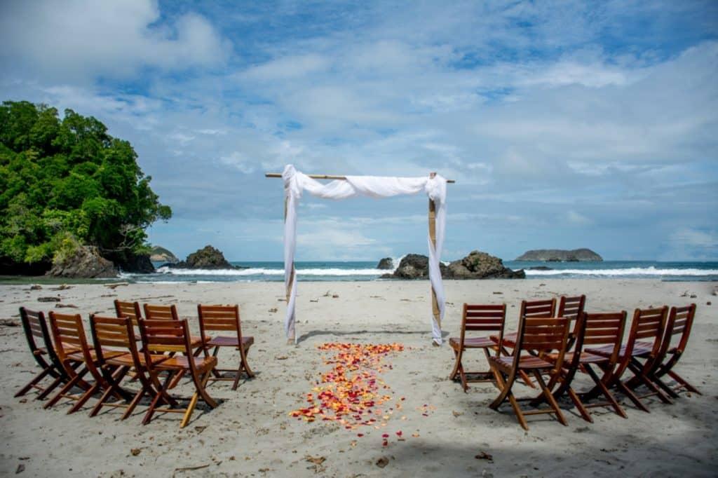 Beach wedding setting in Costa Rica