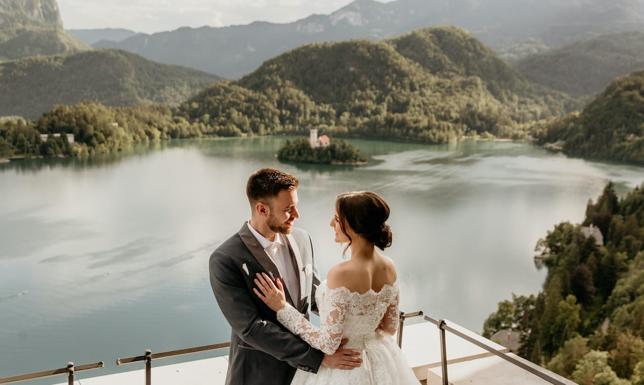 Wedding couple at the Lake Bled Castle venue