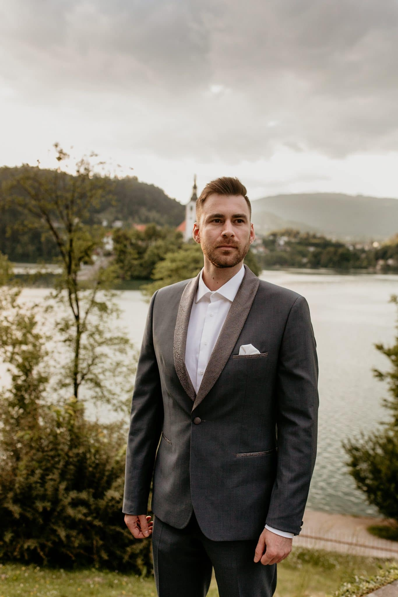 Groom at Lake Bled Wedding standing outside