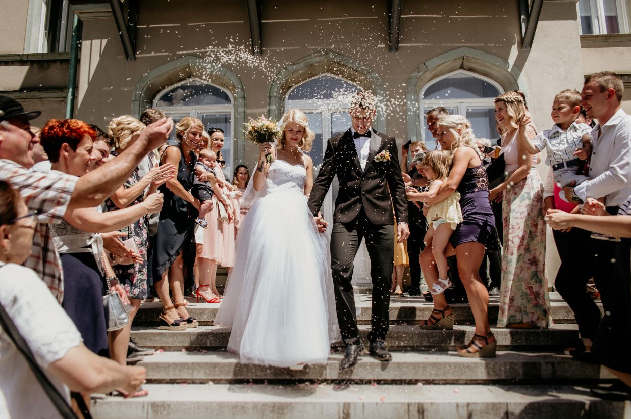 Wedding-couple-after-ceremony-Bled-Town-Hall-wedding
