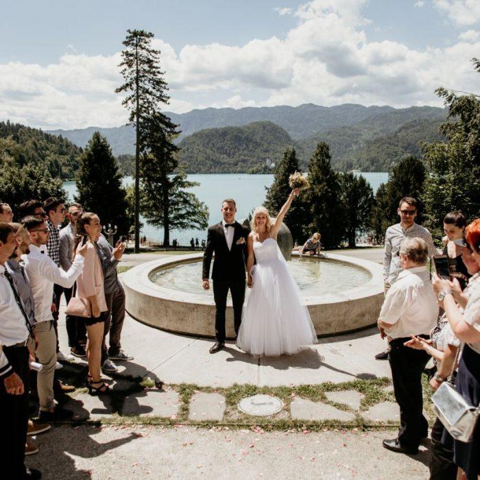 Wedding-couple-celebrating-Bled-Town-Hall-wedding