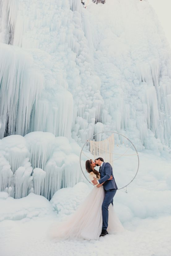 Wedding coupe in ice land.
