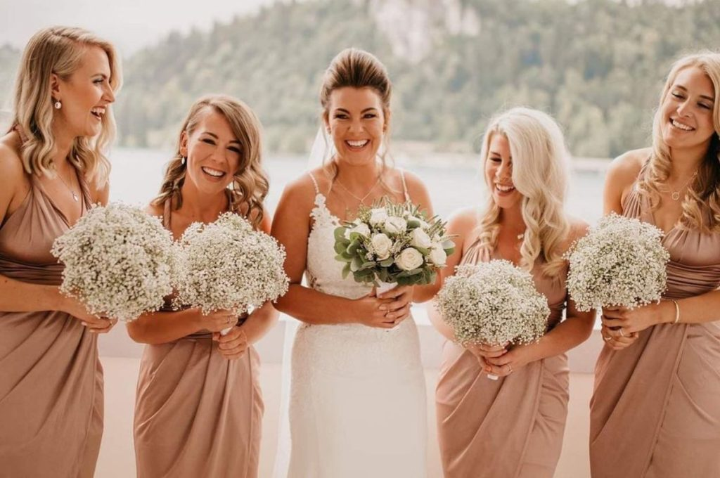 Bride with her bridesmaids.