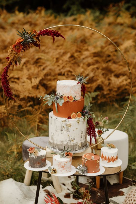 One big wedding cake and for smaller cakes.