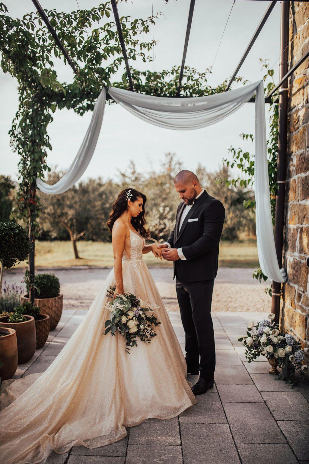 Wedding couple exchanging wedding rings.