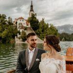 Wedding couple on the lake.